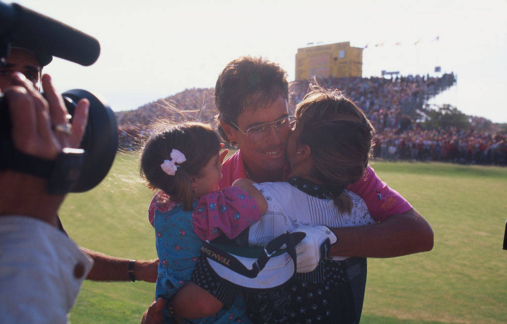 Ian Baker-Finch celebrates with his family at The Open in 1991