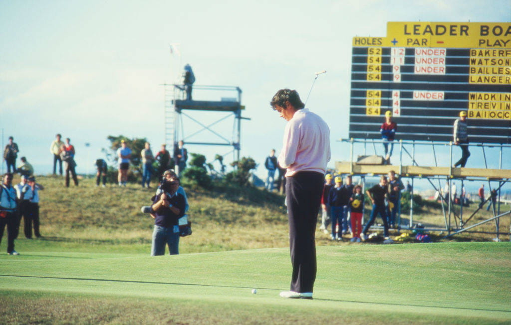 Ian Baker-Finch reacts to a putt during The 113th Open at St Andrews